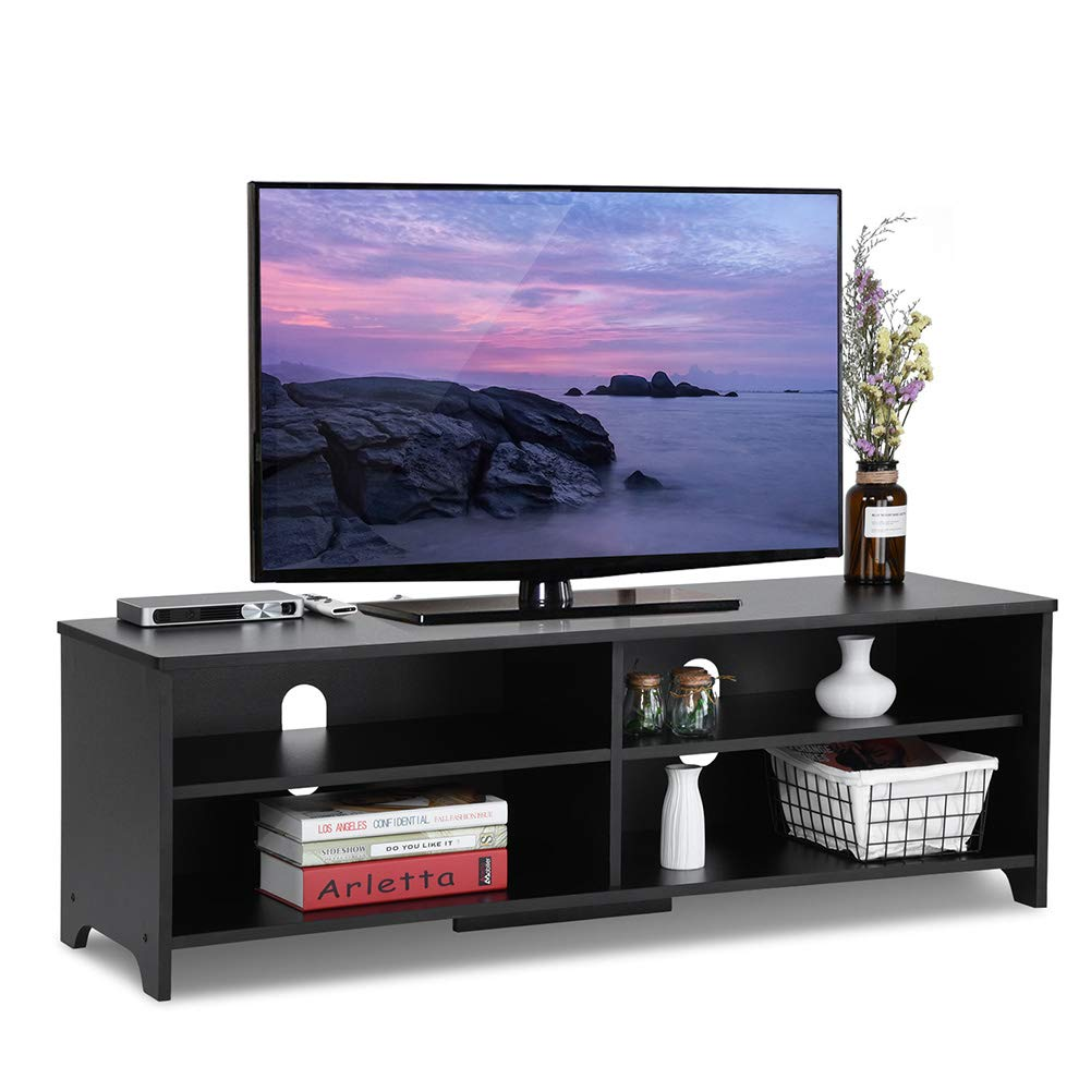 Black DOSLEEPS Wooden TV Stand,TV Unit Storage Console,TV Cabinet with two Shelves,for Living Room,Bedroom