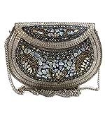Embrague de plata étnica, regalo para mujer, bolsas de mosaico de metal, bolsa hecha a mano, bolsa de piedra, bolsa de concha, bolsa de honda para mujer, bolsa de fiesta, bolsa de nácar