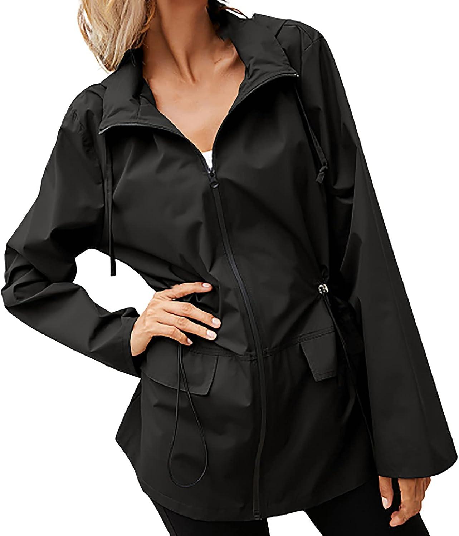Coat for Women Casual Solid Color Bomber Jacket Zipper Outdoor Rain Jacket Plus Size Waterproof Raincoat Windbreaker
