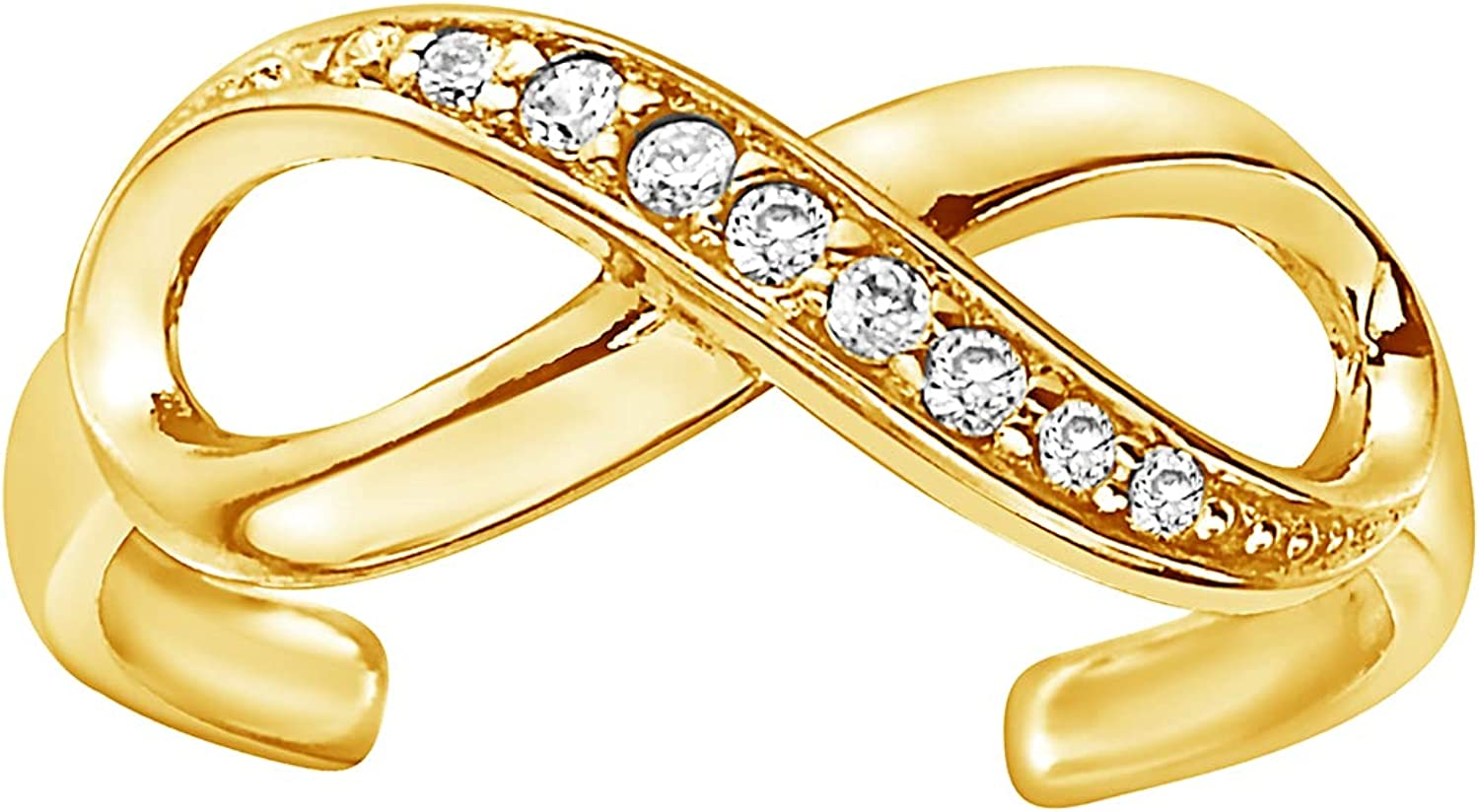 Ritastephens 10k Solid Gold Cubic Zirconia Infinity Adjustable Toe Ring Body Jewelry (Yellow or White)