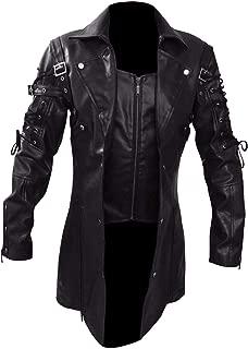 Steampunk Black Renaissance Punk Faux Leather Victorian Gothic Coat