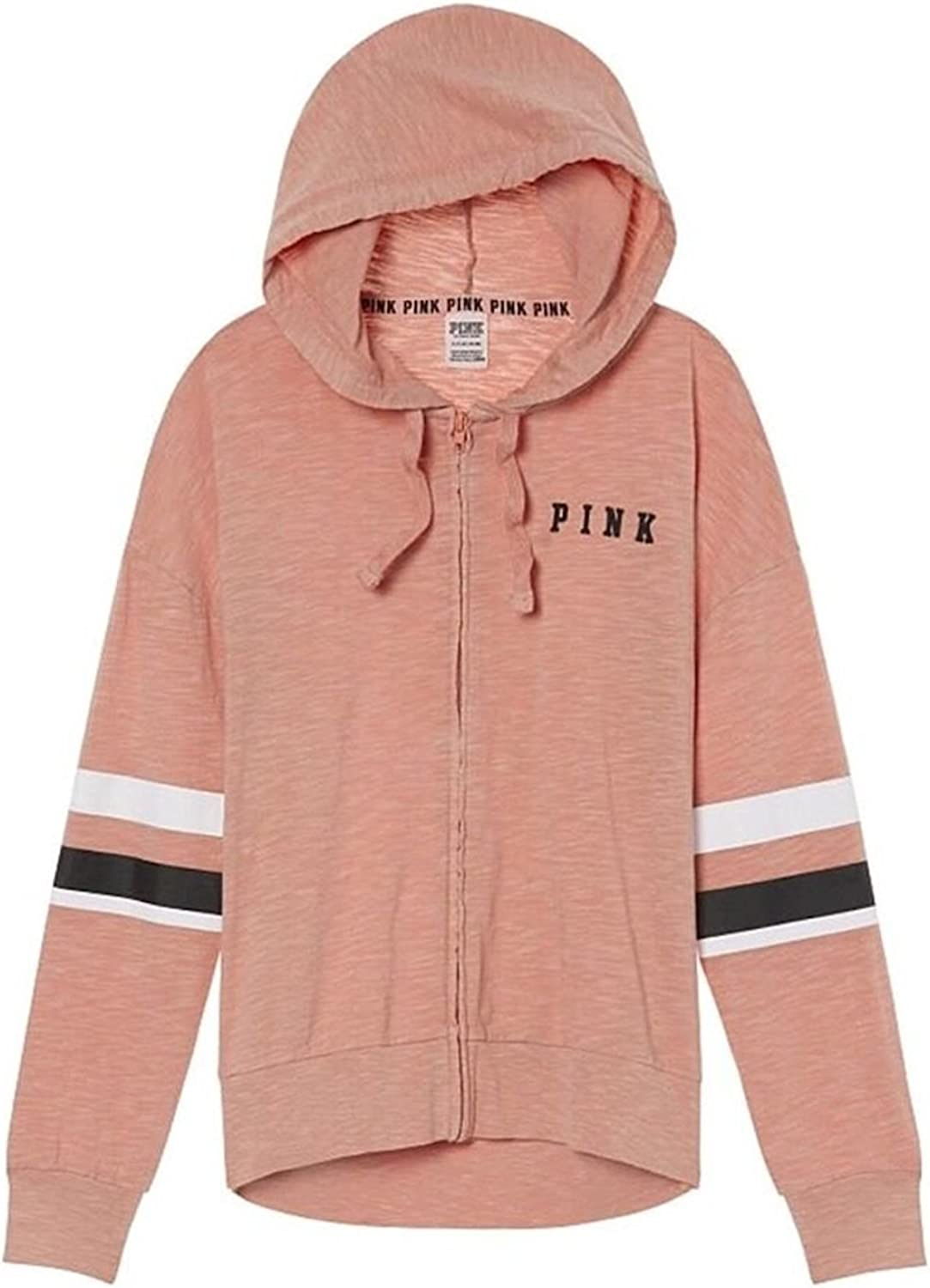 Victoria's Secret Pink New Slouchy Full Zip Hoodie, Light Soft Begonia, XSmall (Oversize)