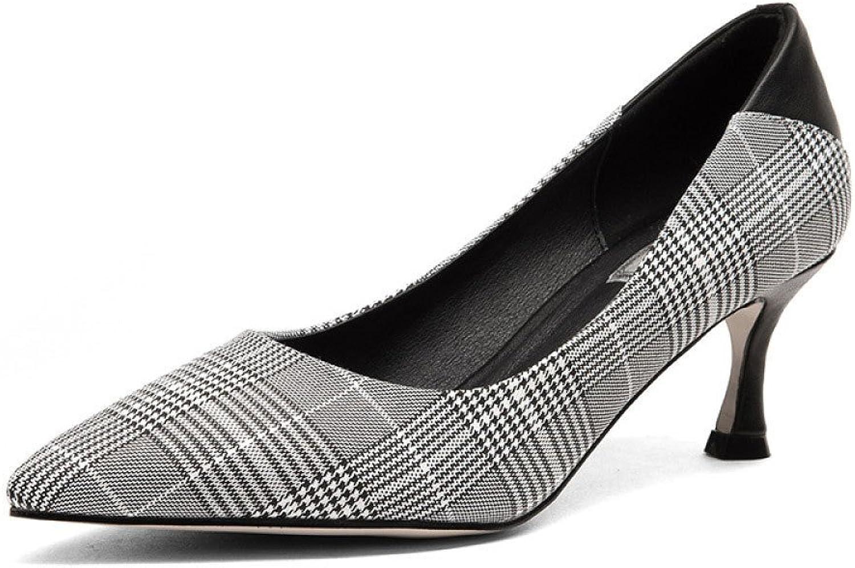 Frauen High Heels Karierte Damenschuhe Damenschuhe Spitz mit Flachen Mund Frauenschuhe Mode Wild  Marke im Verkauf Clearance