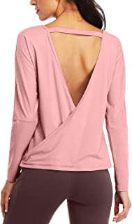 Sanutch Long Sleeve Open Back Workout Tops Backless Yoga Thumbhole Shirts Gym Clothes for Women