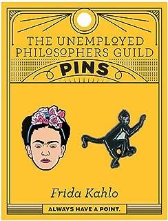 The Unemployed Philosophers Guild Frida and Monkey Enamel Pin Set - 2 Unique Colored Metal Lapel Pins