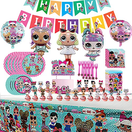 LOL Party Supplies Set - L.O.L Birthday Decorations,10-Kids LOL Theme Party includes Happy Birthday Banner, Tablecover, Plates, Napkins, Gift bags, Forks, Cake Toppers, 5pcs Foil Balloons For Kids L.O.L. Party Supplies