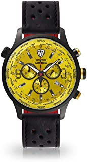 DETOMASO AURINO Mens Watch Chronograph Analogue Quartz Black Racing Leather Strap Light Yellow Dial DT1061-O-841