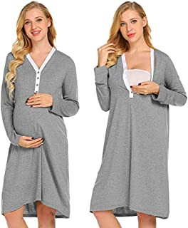 Women's Maternity Nightgowns,Delivery/Labor/Nursing Pregnancy Gown for Hospital Breastfeeding Dress