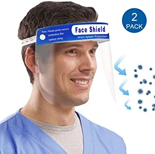 Muryobao Men Women Face Shield Reusable Full Face Transparent Windproof Dustproof With Elastic Band 2Pcs
