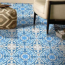 Moroccan Mosaic & Tile House CTP05-01 BAHA Handmade Cement Tile 8''x8'' ', Sky White/Gray/Dark Blue