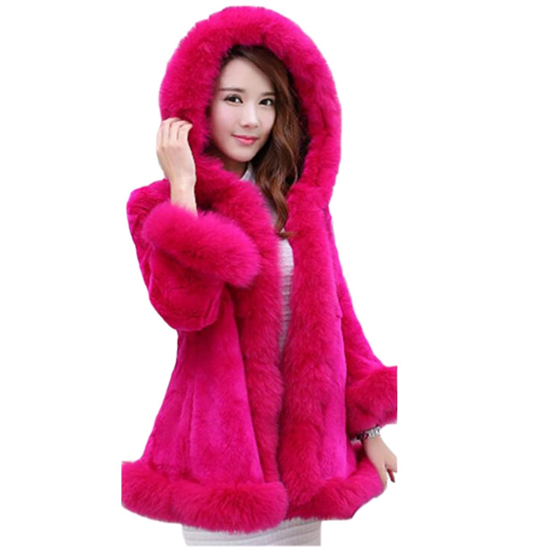CHUGUANG ファーコート レディース冬かわいいピンク ロング フード 毛皮コート ふわふわ もこもこ 毛皮コート レディース 大きいサイズ