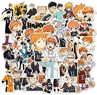 52Pcs/Set Haikyuu!! Stickers Japanese Anime Sticker Volleyball for Decal on Guitar Suitcase Laptop Phone Fridge Motorcycle...