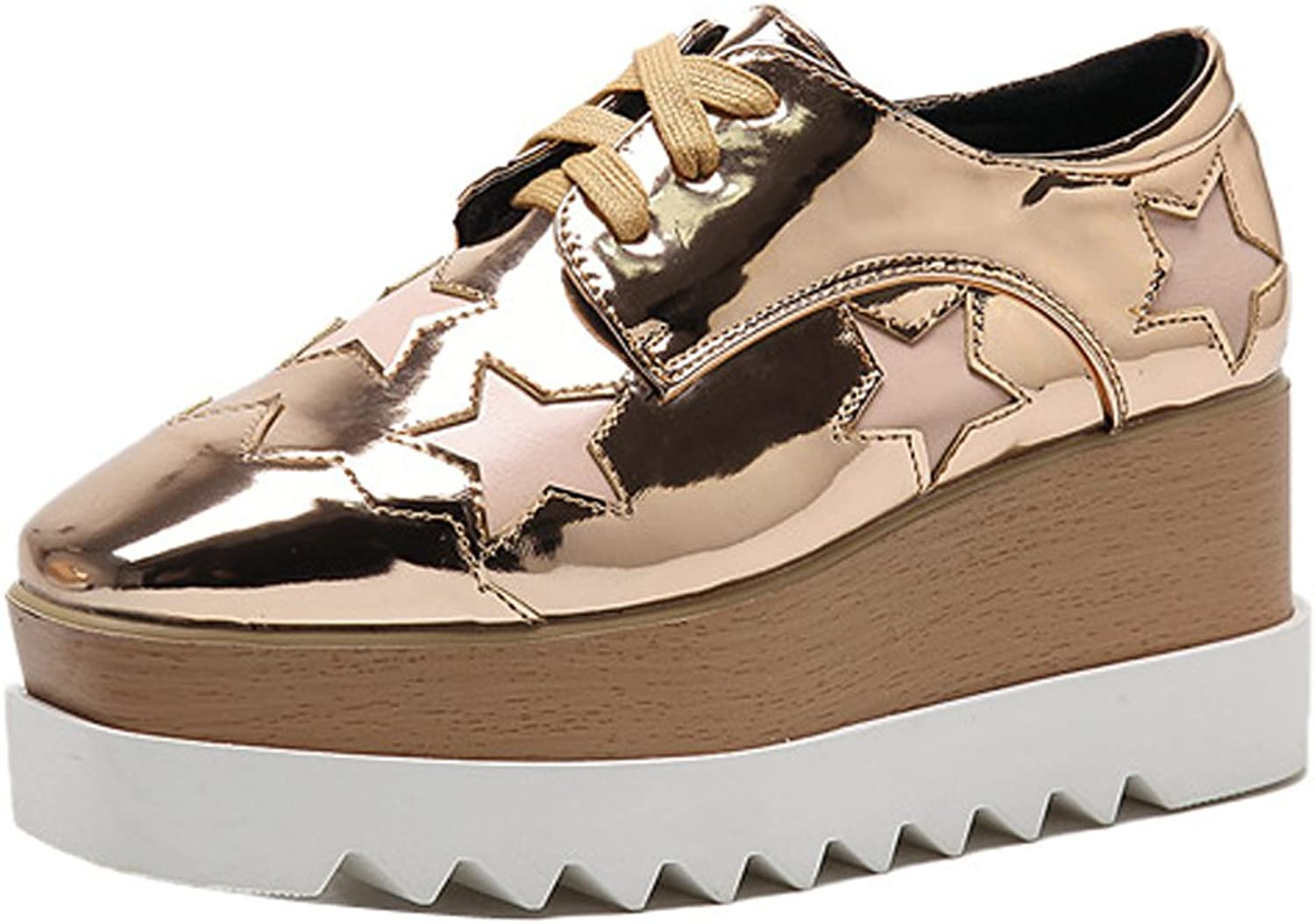 Ladola Womens Soft-Ground Waterproof Lace-Up Square-Toe Urethane Pumps shoes