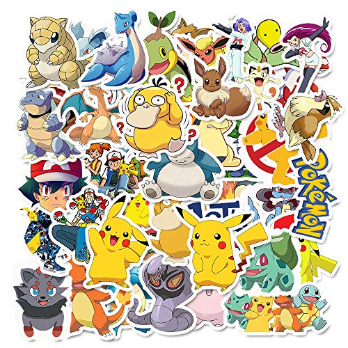 Cute Pokemon Anime Stickers 50pcs The Original Comic Cartoon Animals Monsters Aesthetic Trendy Vinyl Waterproof Decals for Laptop Water Bottle Skateboard Diary Cups Tumbler Car Guitar Bumper