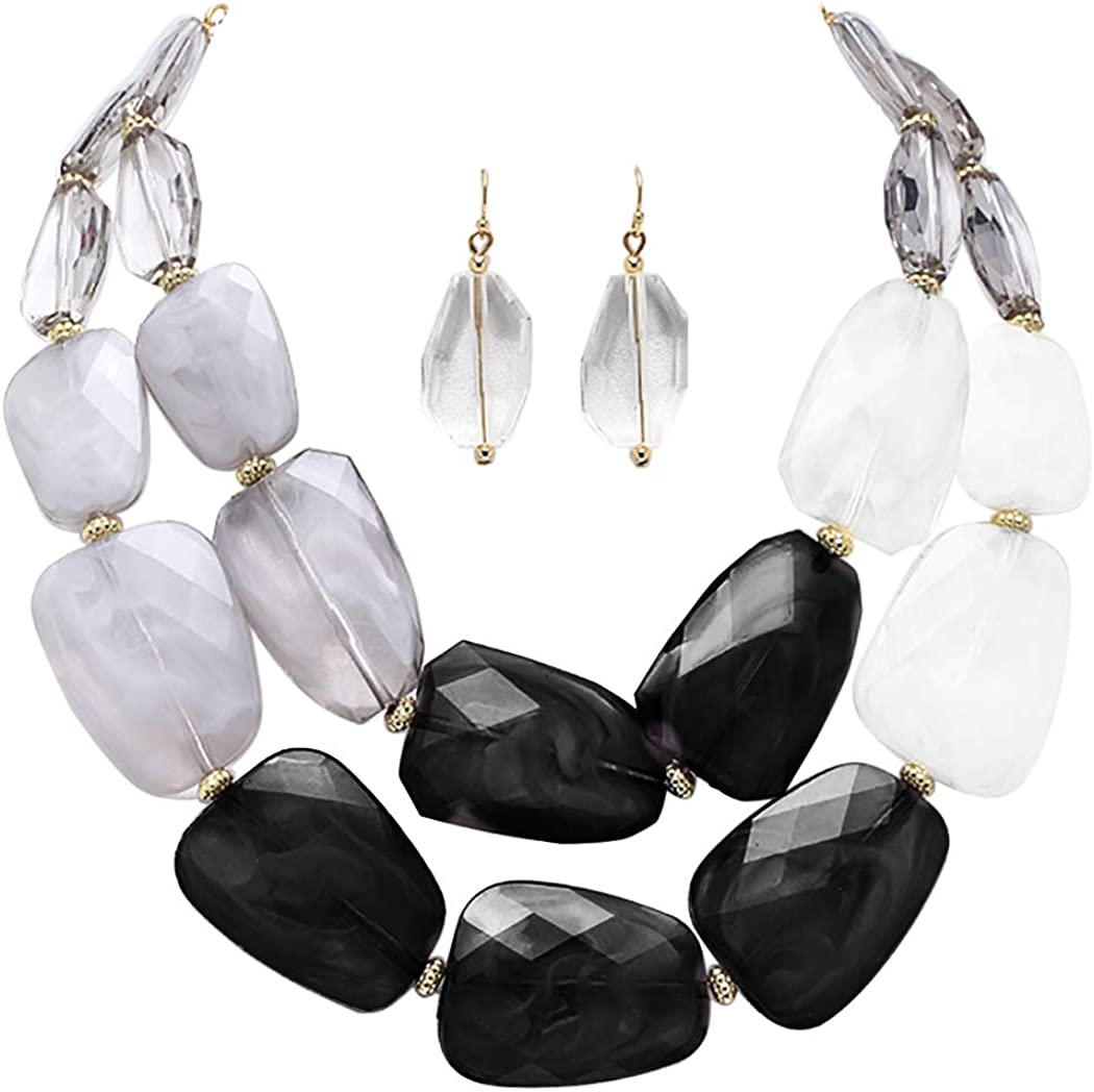 Rosemarie Collections Women's Ombre Polished Resin Statement Necklace Earring Set