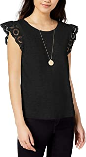 Maison Jules Womens Flutter Sleeve Knit Blouse