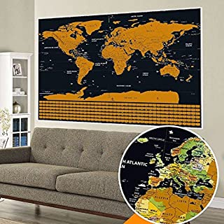 Scratch Off World Map Poster with Outlined Countries, US States and Country Flags. Detailed with Vibrant Colors Wall Map by AK TravelPro