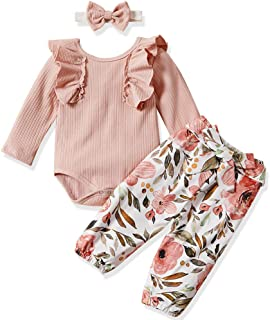 Newborn Baby Girls Clothes Floral Romper+ Floral Long Pant +Floral Headband 3pcs Outfit