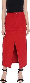 oxolloxo Women's Winter Wear Corduroy Skirt (Red)