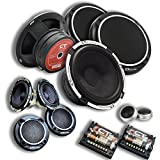 CT Sound 6.5 Inch Component Speaker Set- 3 Way Full Range, 4-Ohm Impedance, 230W(MAX) Power Per Speaker Set, Crossovers, Silk Dome Tweeters, Rubber Surrounded with Woofer Grills, Meso 6.5 3-Way