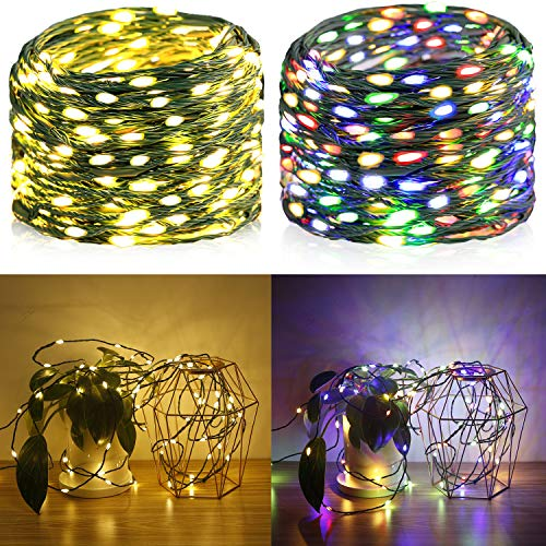 Krislait LED Fairy Lights Color Changing Outdoor Waterproof Connectable RGB Multi Colors String Lights 33ft 100 LED Decorative Twinkle Lights for Bedroom, Patio, Porch, Deck, Garden, Christmas Tree