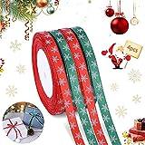 Cinta Navidad,4 Rollo 100m Cintas de Satén de Copo de Nieve,Cinta de Navidad roja y Verde,Cintas de Raso Navideña,Cintas de Navidad Tela Decoración,Cinta Navidad árbol,para Embalaje de Regalo