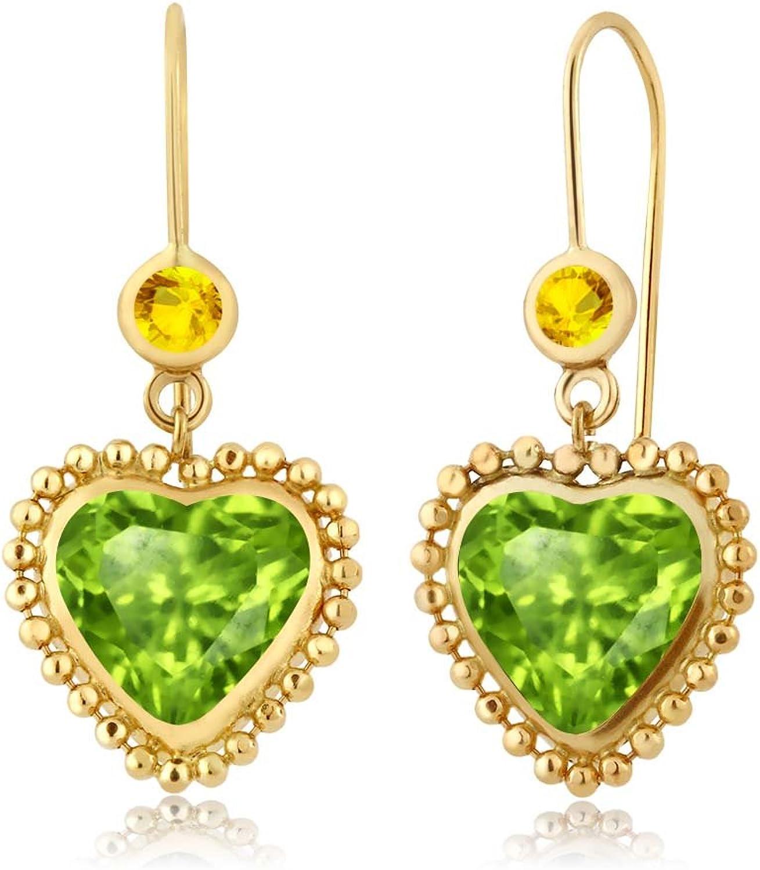 3.26 Ct Heart Shape Green Peridot Yellow Sapphire 14K Yellow gold Earrings