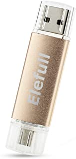 Elefull 2 in 1 Micro USB Flash Drive 64GB Classic Style for Android Smart Phone Tablet Computer Player TV DVD Car Etc (64GB Golden)