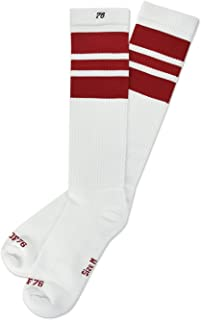 Los cherry Cherrys | Calcetines altos retro de rayas | rayas blancas, rojas | calcetines unisex estilizados entubados