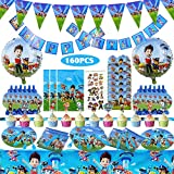 160 Pcs Paw Patrol Party Supplies Birthday Decorations Party Favors for 10 Guests with Paw Patrol Balloon,Plates,Invitation Cards, Birthday Banner,Napkins,Tablecloth,Blowouts,Party Gift bags,Stickers