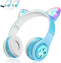 Kids Bluetooth Headphones, Cat Ear LED Light Up Wireless Foldable Headphones Over Ear with Mic, Music Sharing Function and...