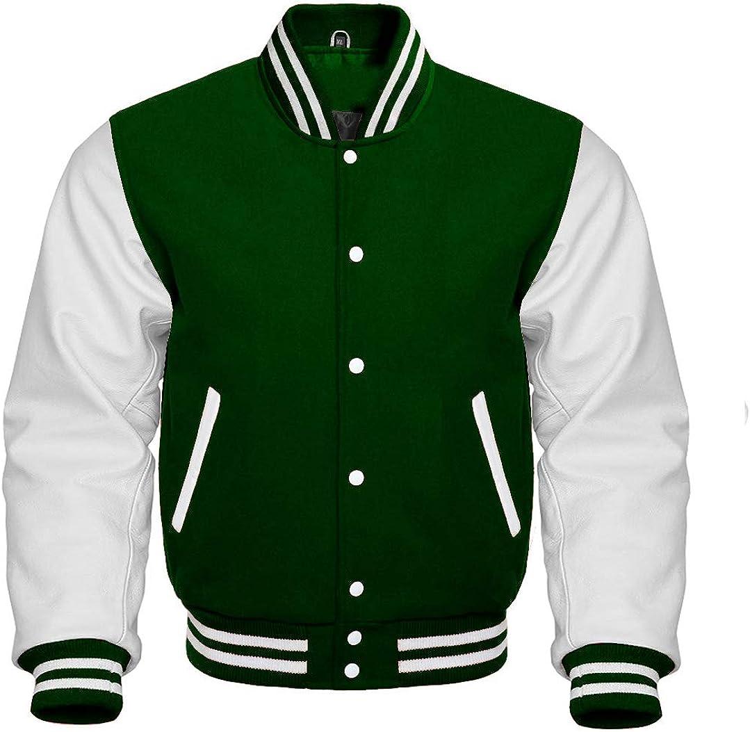 Varsity Letterman Baseball Bomber Retro Vintage Jacket Forest Green Wool & White Genuine Leather Sleeves