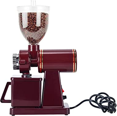 RRH Electric Coffee Grinder Automatic Burr Mill Grinder Professional Coffee Bean Powder Grinding Machine 110V, Red