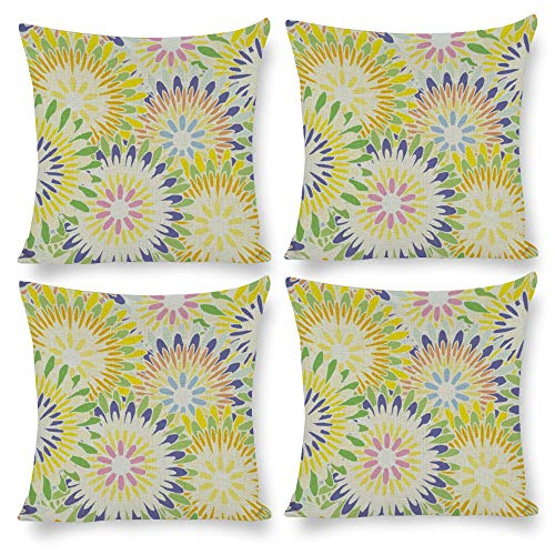 No branded Pack 4, Pillow Covers Throw Pillow Cases Home Decor 4pcs Dahlia Floral Pattern, Decorative Square Pillow Cushion Pillowcase for Home Living Room Bed Sofa Car Nursery Patio Yard Decal