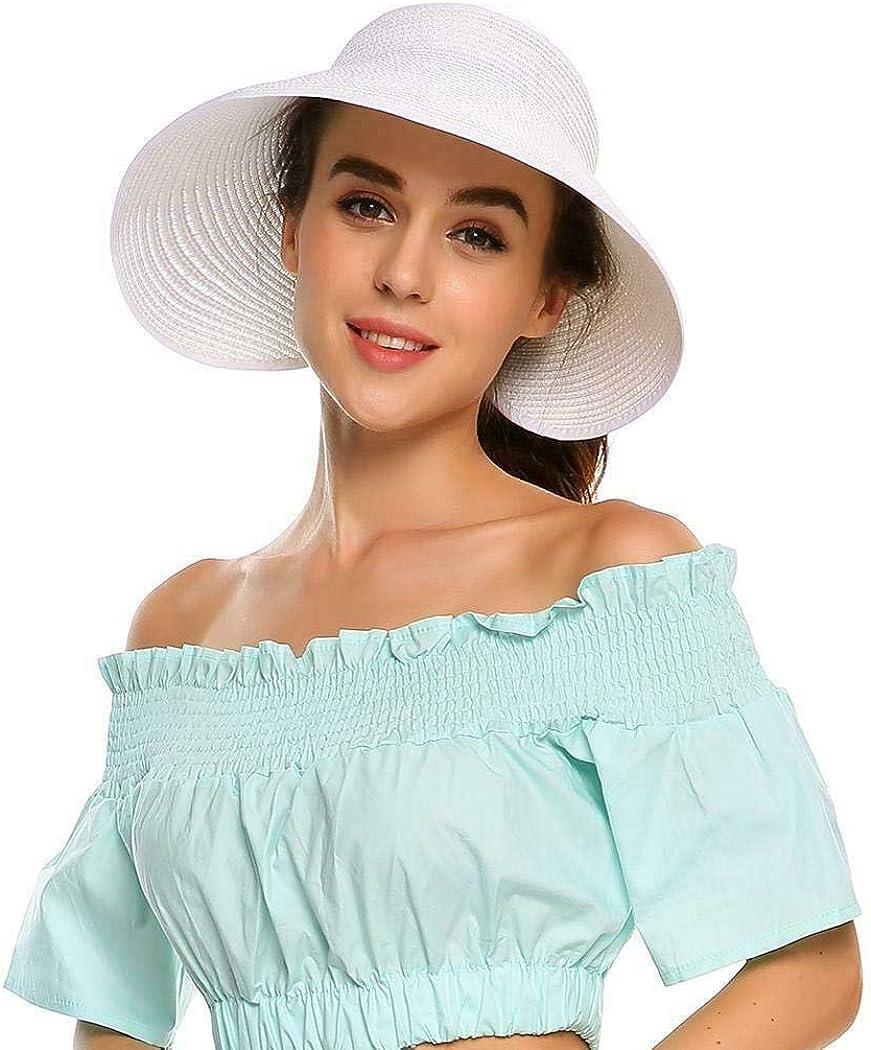 Womens Sun Visor Hat, Foldable Straw Sun Hat with Cute Bowtie