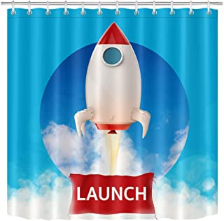 LB Launch Rocket Shower Curtain for Kids Bathroom Decor Spaceship Blue Sky White Cloud 72x72 inch Polyester Fabric Bathtub Curtain with Hooks Waterproof