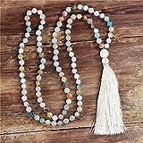 108 perline mala natural stone natural collana lunga nappa donne 8mm amazonite pietra annodata yoga meditazione meditazione gioielli dropship