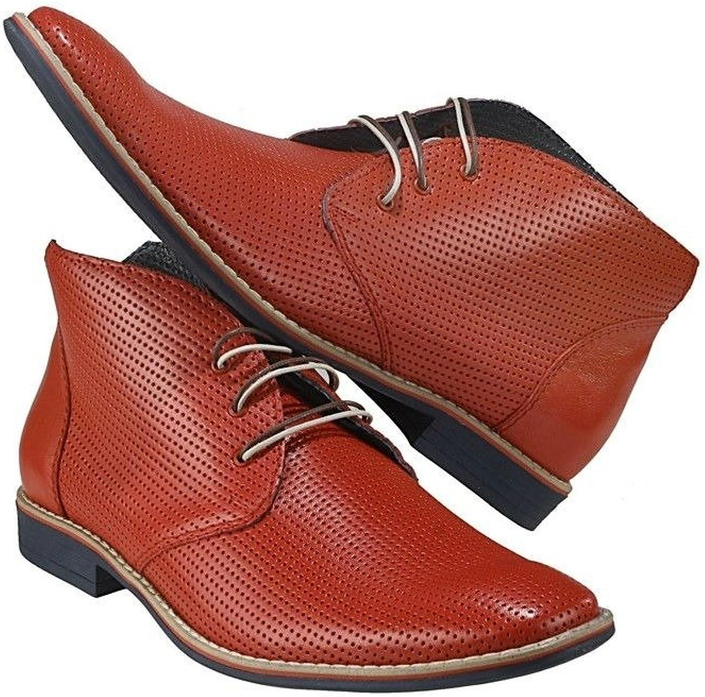 Modello Lecce Lecce Lecce Handgjorda Italienska läderherr Färg Röd Ankle Chukka Stövlar Cowhide Embrossed läder Lace -Up  Beställ nu njut av stor rabatt