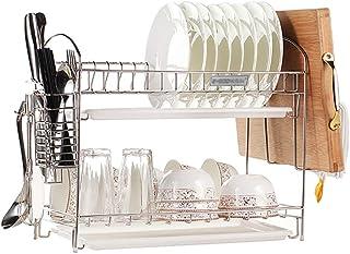 ステンレススチール製食器水切り皿 ドリップトレイとカトラリーホルダー付き 多機能キッチンシェルフ (2段)