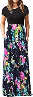 Neutral Maxi Dress for Women Long Sleeve Round Collar Dot Floral Print Patchwork Solid Color Tops