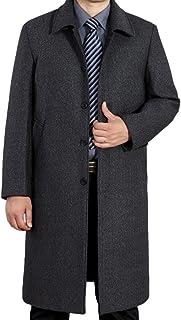 Mordenmiss Men's Wool Single Breasted Winter Trench Jacket Woolen Pea Coat