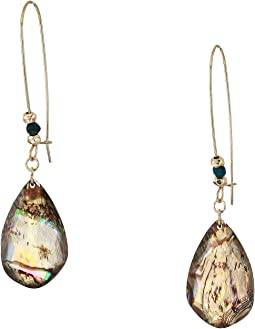Abalone Teardrop Stone Long Drop Earrings