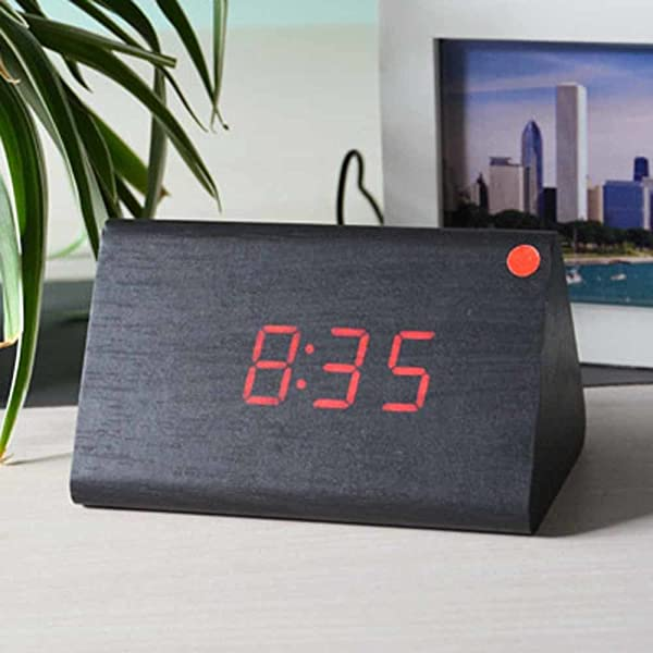 SPA Tool USB Powered Mini Triangle Wood LED Desktop Home Office Clock With Time Display And Voice Control Black Wood Red LED