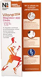 NS Nutritional System Vitans Sport Magnesio+ 400 Citrato +Vitaminas B1. B6. B12. C y D3. 10Comprimidos
