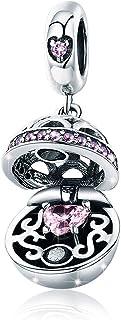 Breloque en argent sterling 925 avec un coffret cadeau pour femme et fille - Pour bracelet et collier violet
