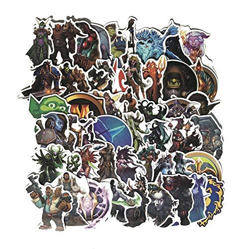 50 Blatt/Packung Cartoon World of Warcraft Blizzard Game Aufkleber Wasserdicht Elektroauto Trolley Koffer Notebook PVC Aufkleber