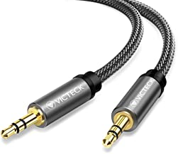 Cable de Audio Estéreo, Victeck Nylon Trenzado Cable Jack Macho de 3,5 mm a Macho de 3,5 mm Compatible con Auriculares, iPhone iPad, Audio de Coche, Samsung, Smartphones, MP3 Player(1M/Negro)