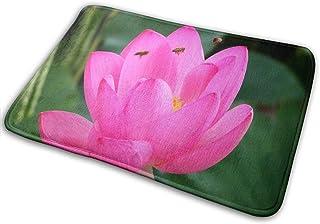 HUVATT Lotus Flower and Bee BathMat Doormat Indoor Outdoor Entrance Inspiring Floor Welcome Mats Bathroom Rug