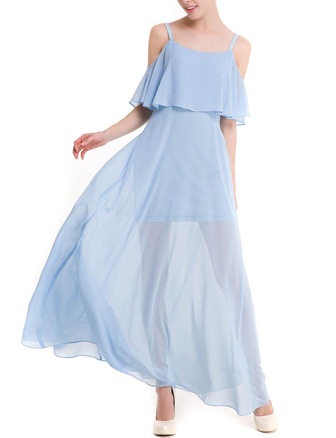 Available at Amazon: Tanming Women's Cold Shoulder Spaghetti Strap Long Chiffon Dress Sundress