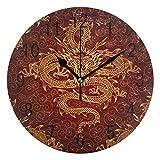 Domoko Home Decor - Reloj de Pared con diseño de dragón Chino, Redondo, acrílico, no se Arruga, silencioso, para Sala de Estar, Cocina, Dormitorio